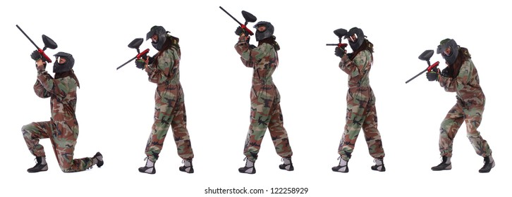 Collage of woman paintball player isolated in white background