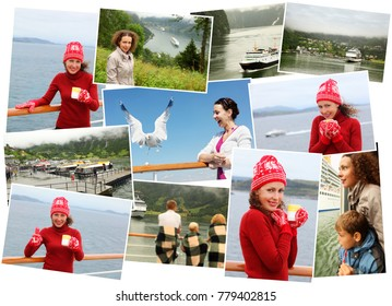Collage with woman in red knitted sweater and hat, woman in gray raincoat and other peoples rest in fiord of Norway