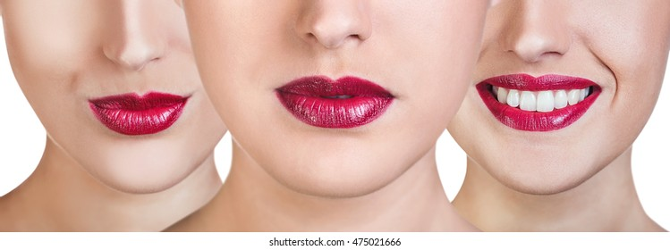 Collage of woman with red lips