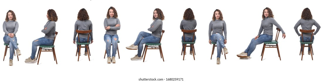 collage of a woman sitting on a chair in white background, profile, front and back - Shutterstock ID 1680259171