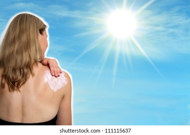 Collage woman with sun and lotion