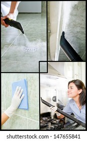 Collage of a woman washing a bathroom