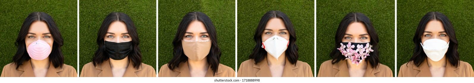 Collage von Frau mit verschiedenen medizinischen Gesichtschirmen auf grünem Hintergrund. Virenschutz mit Masken verschiedener Modetypen