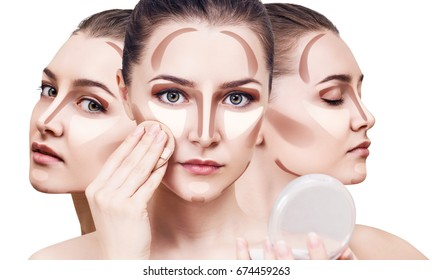 Collage of woman's faces with contouring makeup.