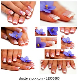 collage Womans hand with French manicure