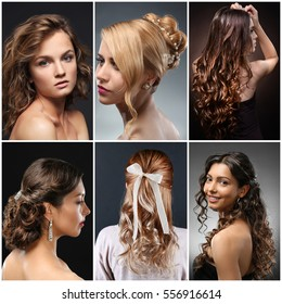 Collage of women hairstyles