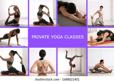 Collage of women practicing different poses and text Private Yoga Classes