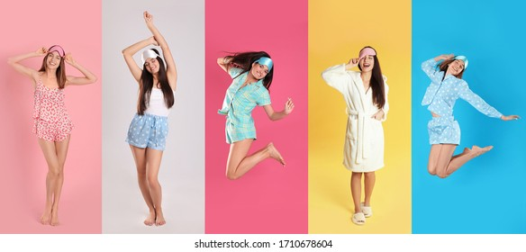 Collage of women with sleep masks on color background. Banner design