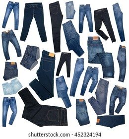 Collage of womens jeans. Isolated on white background