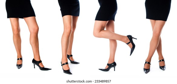 Collage of women's legs, isolated on white