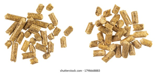 Collage wood pellets  isolated white background. natural pile of wood pellets. organic biofuels texture. Alternative biofuel from sawdust. The cat litter. pile of compressed wood pellets.