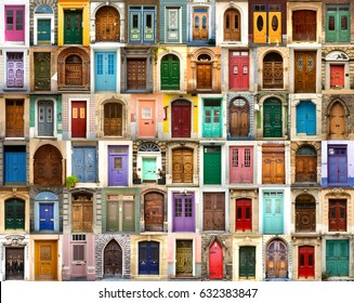 Collage of wooden, colourful and antic doors from all around the world