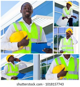 Collage of Worker inspector in helmet or architect in hardhat checking  construction