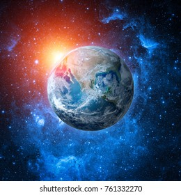 Collage of world globe from space in a star field with sun. Earth and galaxy. Elements of this image are furnished by NASA