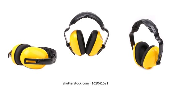 c7654893c82b57 Collage of yellow ear muffs. Isolated on a white background.