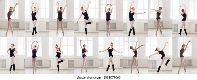 Collage of young ballerina standing in different ballet poses. Sporty brunette woman training at gym. Active, healthy lifestyle concept