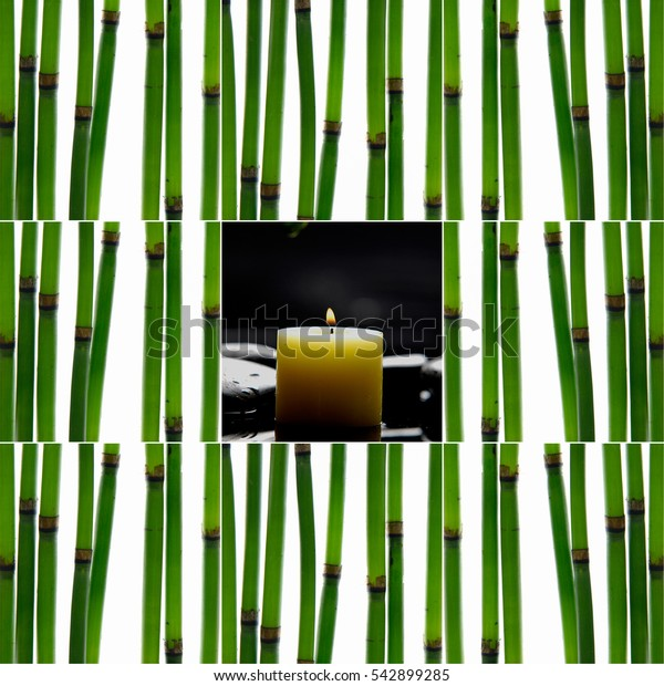 Collage of young bamboo sticks with candle stones