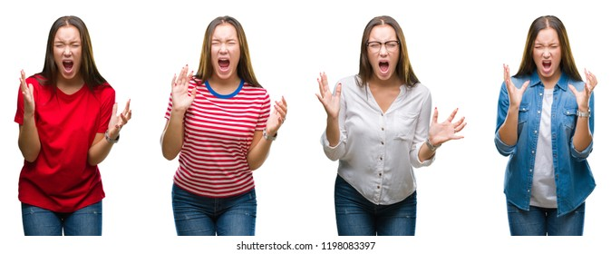 Collage of young beautiful girl over white isolated background crazy and mad shouting and yelling with aggressive expression and arms raised. Frustration concept.