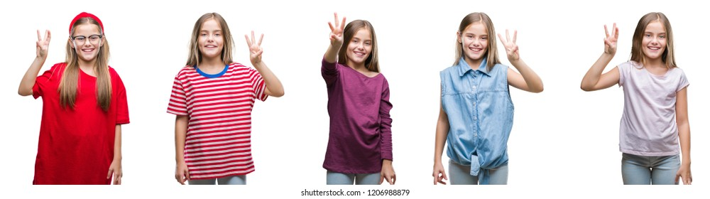 Collage of young beautiful little girl kid over isolated background showing and pointing up with fingers number three while smiling confident and happy.