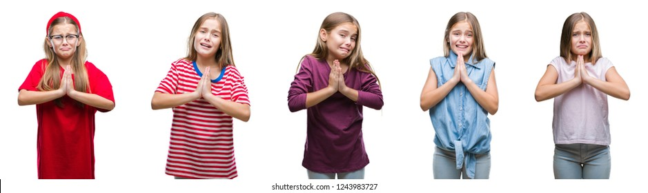 Collage of young beautiful little girl kid over isolated background begging and praying with hands together with hope expression on face very emotional and worried. Asking for forgiveness. Religion