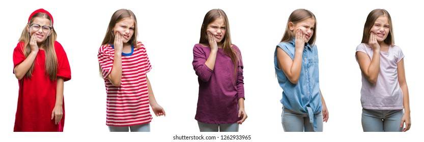 Collage of young beautiful little girl kid over isolated background touching mouth with hand with painful expression because of toothache or dental illness on teeth. Dentist concept.