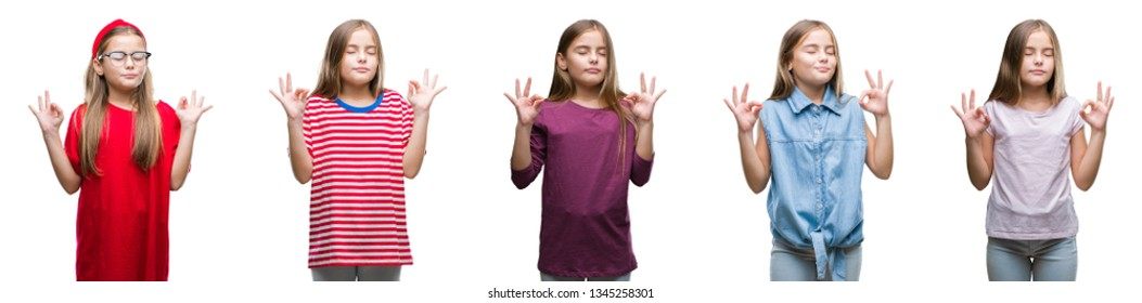 Collage of young beautiful little girl kid over isolated background relax and smiling with eyes closed doing meditation gesture with fingers. Yoga concept.