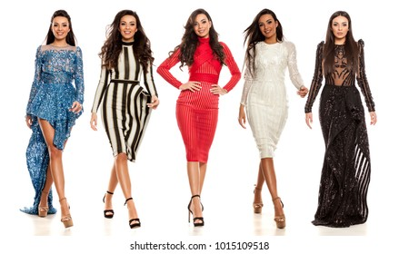 collage of young beautiful woman in different dresses on white background