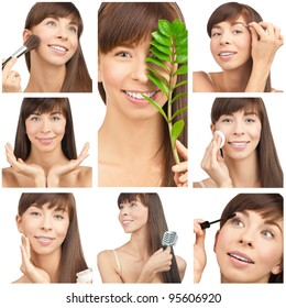 Collage with young beautiful woman having beauty treatment. Skincare, makeup and hygiene.