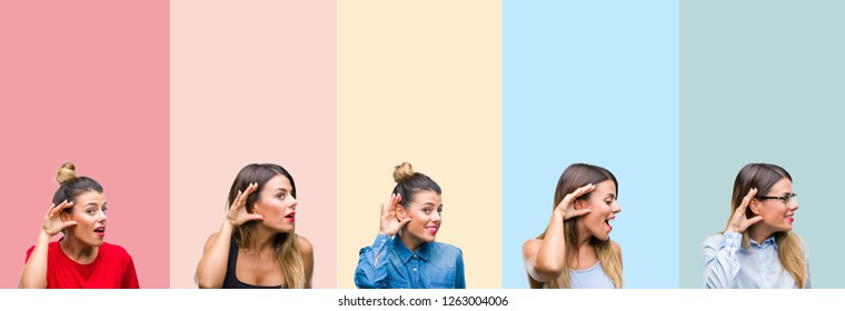 Collage of young beautiful woman over colorful stripes isolated background smiling with hand over ear listening an hearing to rumor or gossip. Deafness concept.