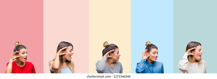 Collage of young beautiful woman over colorful vintage stripes isolated background smiling with hand over ear listening an hearing to rumor or gossip. Deafness concept.