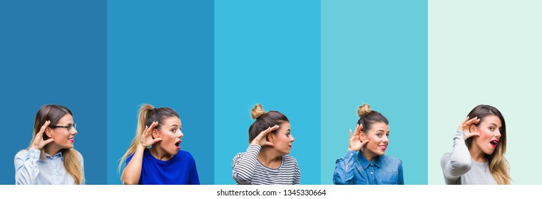 Collage of young beautiful woman over blue stripes isolated background smiling with hand over ear listening an hearing to rumor or gossip. Deafness concept.