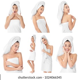 Collage with young beautiful woman and soft towels on white background