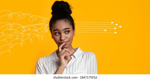 Collage with young black woman arranging her chaotic thoughts on orange background, panorama. Copy space. Millennial lady making up her mind, thinking over problem