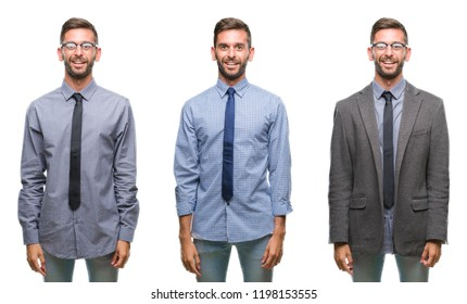 Collage of young business hispanic man over isolated background with a happy and cool smile on face. Lucky person.