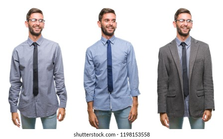 Collage of young business hispanic man over isolated background looking away to side with smile on face, natural expression. Laughing confident.