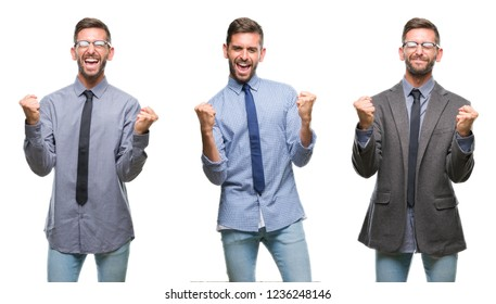 Collage of young business hispanic man over isolated background very happy and excited doing winner gesture with arms raised, smiling and screaming for success. Celebration concept.
