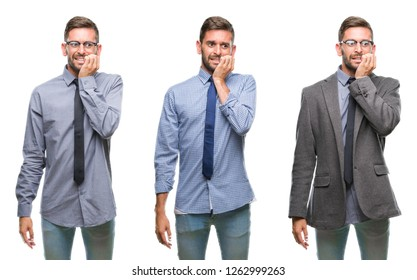 Collage of young business hispanic man over isolated background looking stressed and nervous with hands on mouth biting nails. Anxiety problem.