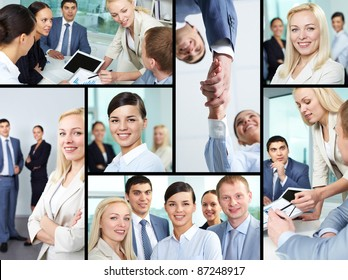 Collage of young business people looking at camera, working at meeting and handshaking