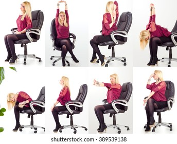 Collage young business woman doing exercises in her office chair for neck, shoulders and back/office yoga concept
