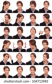 Collage of young business  woman's  different facial expressions