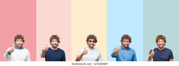 Collage of young casual man over colorful stripes isolated background doing happy thumbs up gesture with hand. Approving expression looking at the camera with showing success.