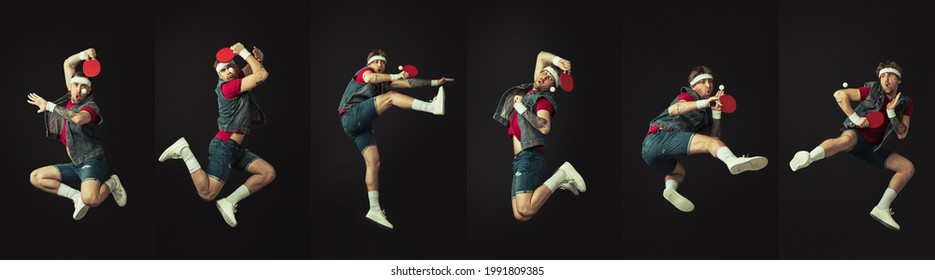 Collage. Young Caucasian funny man, tennis player playing ping pong isolated on black background. Concept of human facial expression, sport, action, funny meme emotions. Copy space for ad.