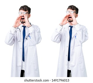 Collage of young doctor man wearing medical coat Shouting angry out loud with hands over mouth