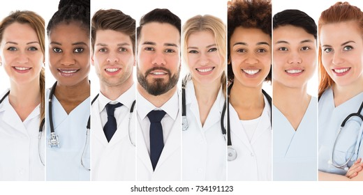 Collage Of Young Doctors With Stethoscopes On White