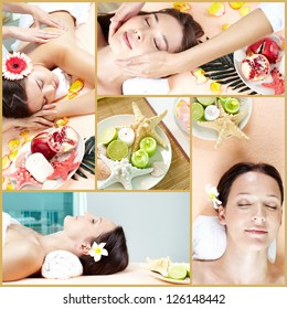 Collage of young females lying in beauty salon and spa accessories