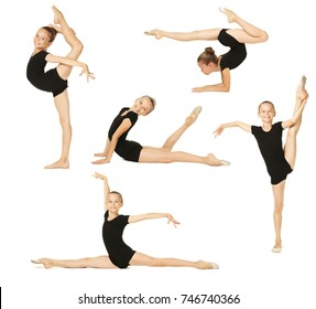Collage of young girl gymnast on white background
