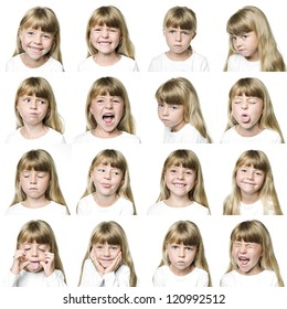 Collage of a young girl isolated on white background