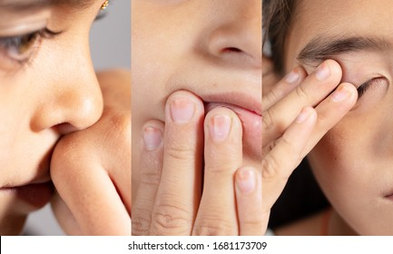 Collage of Young girl touches her nose, eyes and Mouth - Concept showing avoid touch face to protect and prevent form covid-19, sars cov 2 or coronavirus outbreak or spreading.