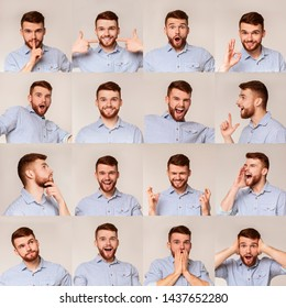 Collage of young guy portraits with different emotins and gestures on beige background