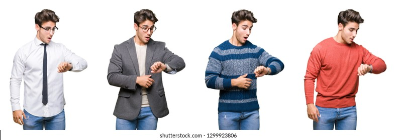 Collage of young handsome business man over isolated background Looking at the watch time worried, afraid of getting late